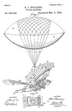 Flying machine, ornithopter, 1889.