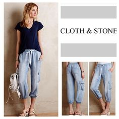 "Anthropologie Cloth & Cloth Cargo Joggers.  NWOT. Anthropologie Cloth & Stone Chambray Cropped Cargo Joggers, 100% tencel, machine washable, 34"" elastic drawstring waist which stretches up to 38"", 10"" front rise, 14"" back rise, 23"" inseam, 12"" elastic cuff which stretches up to 16"" all around, slouchy, cropped fit, faux front fly, six pockets, drawstring waist, fading, measurements are approx.  New without tag, never worn.  Truest color is depicted in first three pic frames.  No Trades…"