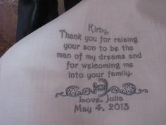 Personalized Father of the Groom machine embroidered western wedding handkerchief by Sweet Sewing Jeans on Etsy, $27.00