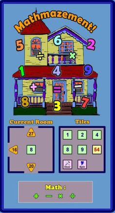 Quick! If you had to make a 32 using your addition, subtraction, multiplication and division skills and the numbers 2, 5, 6, 8 & 9 could you do it? This concept is the essence of Mathmazement, an online Flash game where you explore a 100 room house to find and store eight toys in one of three toyboxes. Did you get 6x5+2? How about 8x(6-2)? As you explore the house you gain points by visiting rooms, collecting toys, and solving math problems. Secret rooms and sound effects add to the fun. ($)