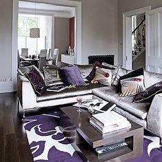 Purple & Grey Living Room- Rug!