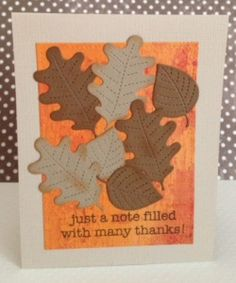 Fall thank you card using Stitched Leaves and Large Stitched Rectangle Stackables dies by Lawn Fawn used to create a fall-inspired thank you card.
