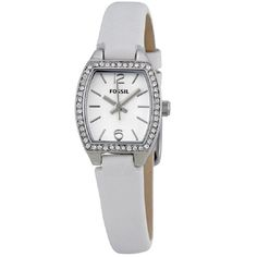 FOSSIL® White Dial White Leather Strap Ladies Watch
