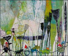 Elke Trittel acrylics,collage on canvas 40/40cm