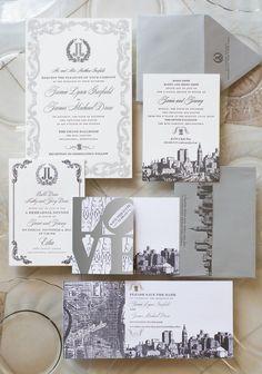 wedding invite + save the date + rehearsal dinner invite + brunch invite