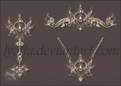 A fabulous collection of jewelry for a little princess Magic items and elements Design gold amulet pendants Magic Key butterfly amulet pendants, crown Created using Photoshop 1 PNG ~1900x1400 px tr...