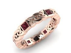 14K Rose gold Celtic Knot Eternity Band by AdagioCustomDesigns, $595.00