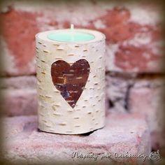 Březový svícen | Nápady pro Aničku.cz Pillar Candles, Candle Holders, Birch, Porta Velas, Chandelier, Taper Candles, Candlesticks