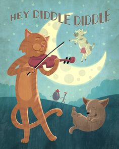 Hey Diddle Diddle  Children's Art Print by OlliesRoomArt on Etsy, $30.00