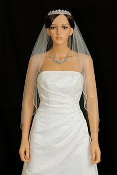 "1T 1 Tier Bicone Crystal Beaded Edge Wedding Veil - ivory Fingertip Length 36"" V291 Venus Jewelry http://www.amazon.com/dp/B00LPU6N9G/ref=cm_sw_r_pi_dp_K0y1tb1N9JSWPE60"