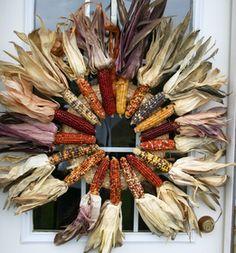 DIY Indian corn wreath