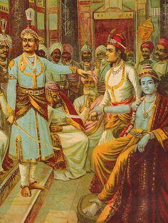 Krishna as Envoy, by Raja Ravi Varma. Krishna, a hero of the epic Mahabharata is the creator of the Bhagavad Gita (Lord's Song).