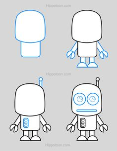 Simple drawing lesson on how to draw a robot.