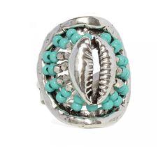 Gas bijoux bague Tulum | Bague femme argent et perles turquoises ajustable
