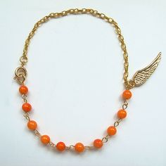 Natural orange coral, candy color gemstone bracelet with 24 K gold plated wing charm, multi-color available, FREE shipping #christmas #xmas #halloween #highquality #affordable #freeshipping #bead #beads #gem #gems #gemstone #gemstones #jewelry #jewellery #jewelrymaking #jewelrysupplies #jewelrysupply #etsy #farragem #design #designer #handcrafted #handmade #ring #necklace #earrings #bracelet #pendant 24k Gold Jewelry, Jewellery, Unique Jewelry, Ring Necklace, Beaded Necklace, Earrings, Gemstone Bracelets, Gem S, Candy Colors
