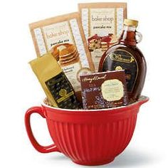 Breakfast basket - large mixing bowl, gourmet waffle mixes, coffee grounds, maple syrup