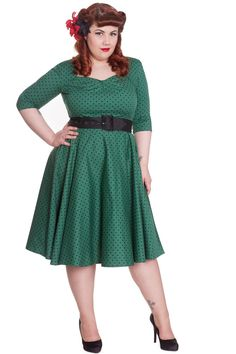 Hell Bunny Momo Green Dress - Plus Size Retro Rockabilly Swing 50's Pin up