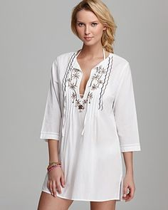 Tommy Bahama Tiki Moon Embroidered Swimsuit Cover Up | Bloomingdale's