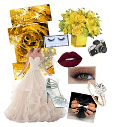 """""""Yellow rose wedding"""" by alice4fashion ❤ liked on Polyvore featuring Design Art, Allurez, Huda Beauty, Touch Ups and Jon Richard"""