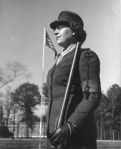 Female US Marine Private Eleanora Julia Csanady on sentry duty at Marine Corps Women's Reserve Schools at Camp Lejeune, Jacksonville, NC, 1943 (US Marine Corps photo)