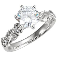 14kt White Gold  Round Sculptural Semi-Mount Engagement Ring (17.195 ARS) ❤ liked on Polyvore featuring jewelry, rings, accessories, engagement rings, wedding ring, cluster rings, cluster engagement rings, white gold cluster ring, round wedding rings and white gold wedding rings
