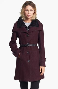 Soia & Kyo Wing Collar Coat with Genuine Shearling Inset available at #Nordstrom