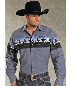 Panhandle Slim Scenic Border Print - Mens Long Sleeve Snap Shirt