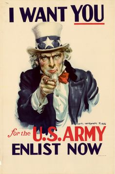 "James Mongomery Flagg's ""I Want You"" US Army Recruiting poster: The most famous poster in the world, with 4 million copies printed and distr..."