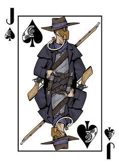 The Jack of Spades from the Deck of Amazing Adventurers which is a fully custom 56 card steampunk themed Bicycle® playing card deck, manufactured by USPCC