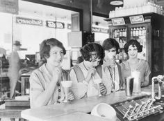 Even today, the soda fountain is legendary, and the image of chrome-plated countertops and swivel stools conjures nostalgia in people who never saw the real thing. Description from missretroagogo.blogspot.com. I searched for this on bing.com/images