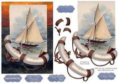 Vintage Birthday Sailboat on Craftsuprint - Add To Basket!