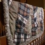 Men's flannel shirts made into patchwork baby blanket...