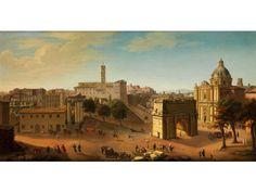 ANSICHT DES FORUM ROMANUM Öl auf Leinwand. 57 x 108 cm. Blick auf die Rückseite des Kapitols mit dem Septimius-Severus-Bogen im Vordergrund und der Kirche...