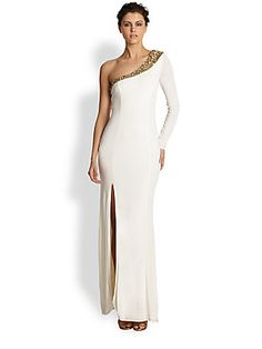 ABS Beaded+One-Shoulder+Gown