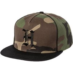 HUF The Scholar Snapback Hat in Woodland Camo (76.145 COP) ❤ liked on  Polyvore featuring men s fashion 37b57f5106f