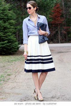 Black And White Skirt, Chambray shirt.