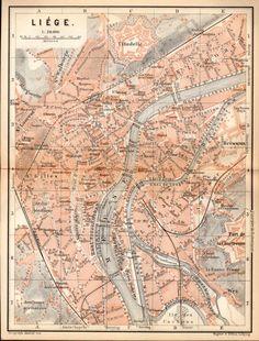 1897 Liège, Belgium, Antique Map, Vintage Lithograph, Lidje, Wallonie, Belgique, Luik, België, Walloon, Wallonia, Old City Map, Antique Plan