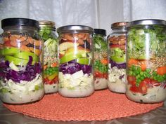Salad in a jar - lovely idea for work lunch. #healthyworklunch #healthylunch #jarsalad