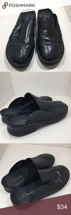 Clarks Black Leather Slip On Comfort Clogs 8 Clarks Slip on Clogs Size 8 Pre-owned - a couple of the decorative strings on the front are loose/cut.  It does not affect wearing the shoes Clarks Shoes Mules & Clogs