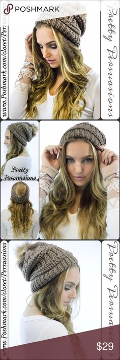 SALE💜NWT Taupe Pom Pom Slouchy Beanie Hat NWT Taupe Pom Pom Slouchy Beanie Hat  One Size  Features  • warm, stretchy knitted material  • faux fur pom pom  Cotton Blend   Also available in Black, Navy, White, Red  Bundle discounts available  No pp or trades  Item # 1/101070260TBH Pretty Persuasions Accessories Hats