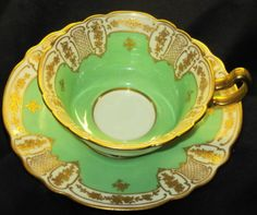 ROYAL-DOULTON-GOLD-FLOWER-ROSE-ETCH-GREEN-TEA-CUP-AND-SAUCER