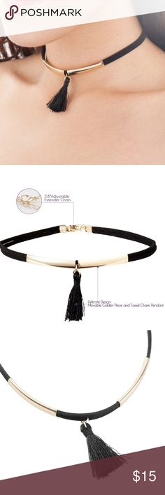 💢All jewelry BOGO 💢Tassel charm pendant choker Adjustable Tassel Choker Necklace with Golden Piece The perfect fashionable accessory that matches your outfit for any season Layered band with tassel dropper  Adjustable length  Lobster clasp fastening with polished smooth finishing Quality material: 90% Polyester, 10% Base Metal  Length: 12.3 inches X 0.2 inches / 2.8 inches extender chain Length of tassel: 1.4 inches Jewelry Necklaces