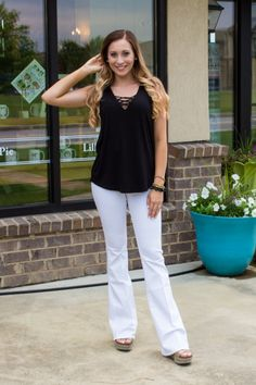 This shows just how easy a black tank will go with anything! And everyone needs white jeans! This outfit can be changed up many ways and we love this! Check out Blush and Bashful Boutique for some cute basics to make a great outfit! Website is www.blushandbashfulboutique.com