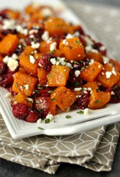 Honey Roasted Butternut Squash with Cranberries and Feta: a fabulous Fall side dish for any occasion!