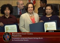 Nancy Navarro presents a proclamation for Hispanic Heritage Month 2014.