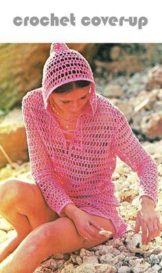 "Vintage 70s Pattern Crochet Bikini ""HOODED"" Cover-Up - PDF Pattern Summer $3.20"