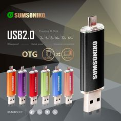SUMSONIKO Phone USB Flash Drive High Speed USB 2.0 OTG Pen Drive Fashion 10 Colors USB Memory Stick Special offer Free Shipping