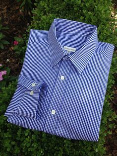 Boy's Front Button Down Long Sleeve Shirt with French Collar in Royal Blue Gingham Italian Cotton. McCall Wilder Couture for Children.
