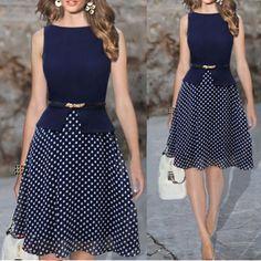 Vestido de verão Azul Escuro Polka Dot Vestidos Mulheres Vestido Casual Imprimir Chiffon Das Senhoras de Vestuário Roupas para Senhoras Elegantes