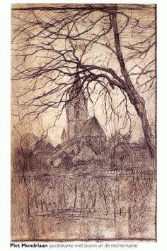 Jacobuskerk Winterswijk | Piet Mondriaan Piet Mondrian, Dutch Painters, Dutch Artists, Art Moderne, Gravure, Art Sketchbook, Van Gogh, Les Oeuvres, Art History